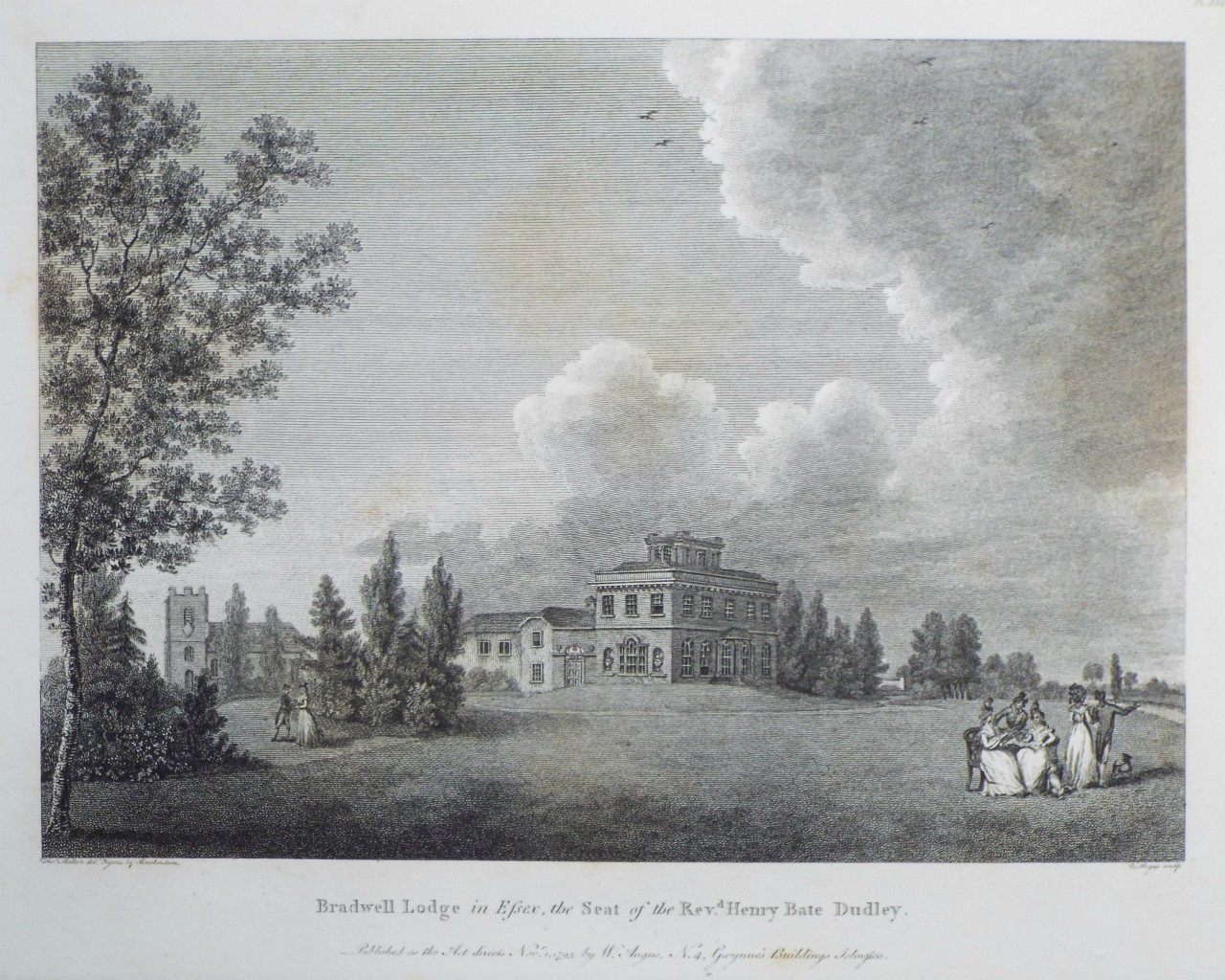 Print - Bradwell Lodge in Essex, the Seay of the Revd. Henry Bate Dudley. - Angus