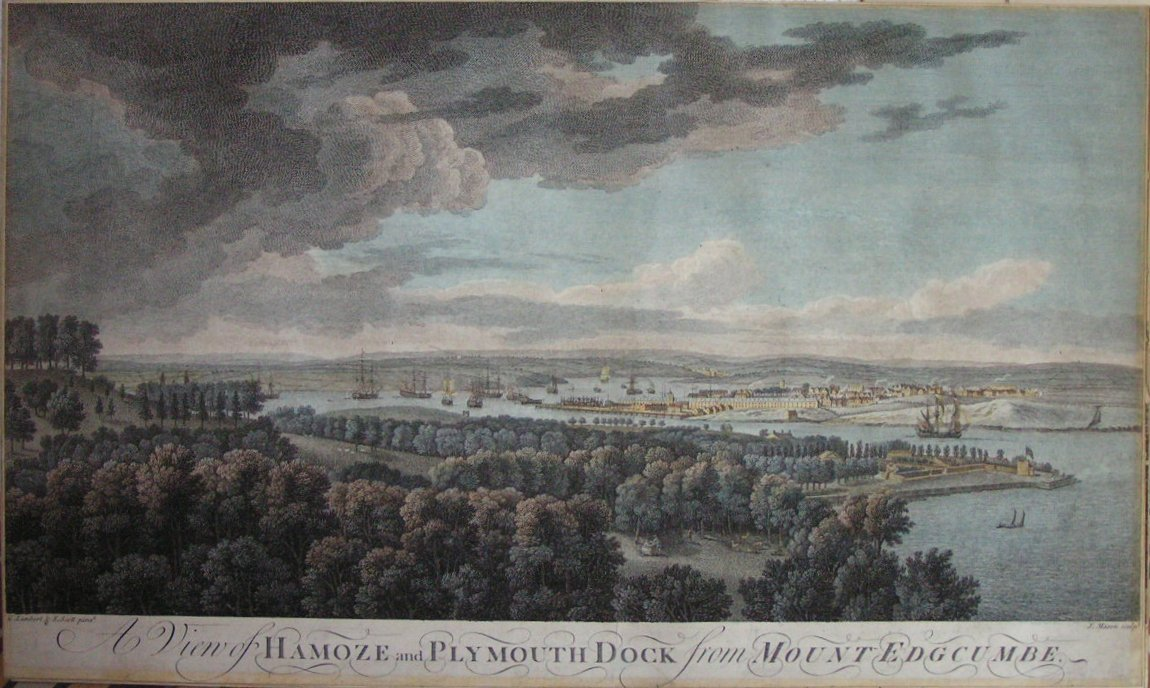 Print - A View of Hamoze and Plymouth Dock from Mount Edgcumbe - Mason
