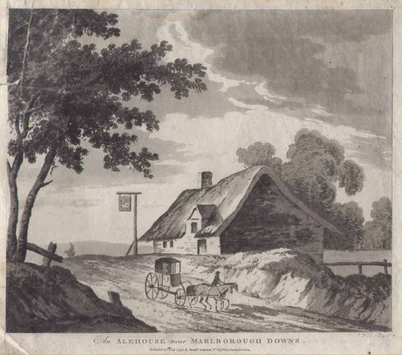 Aquatint - An Alehouse near Marlborough Downs. - Wells