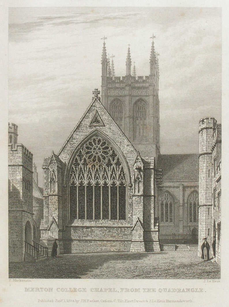 Print - Merton College Chapel, from the Quadrangle - Le
