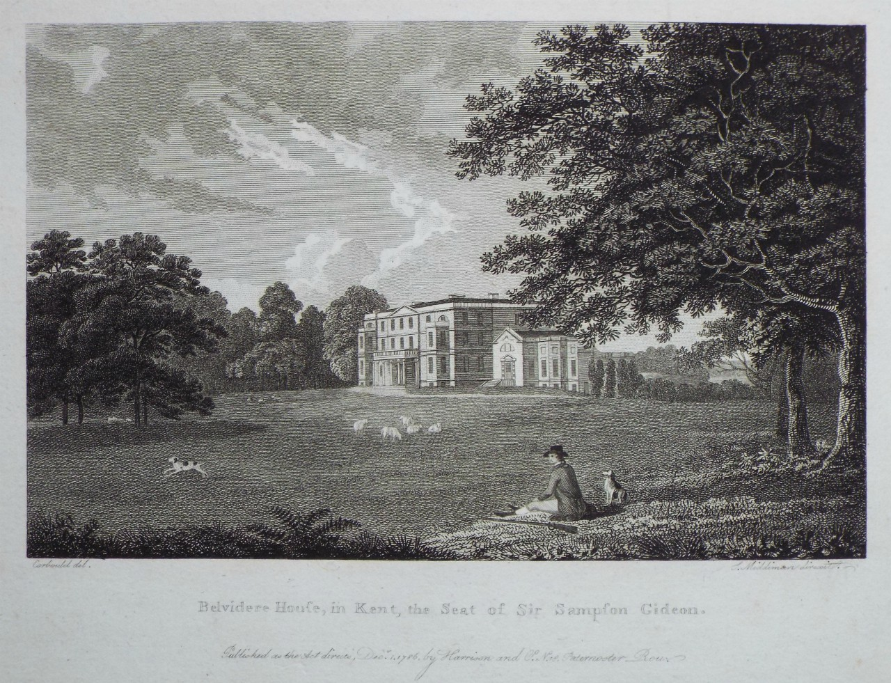 Print - Belvidere House, in Kent, the Seat of Sir Sampson Gideon. - Middiman