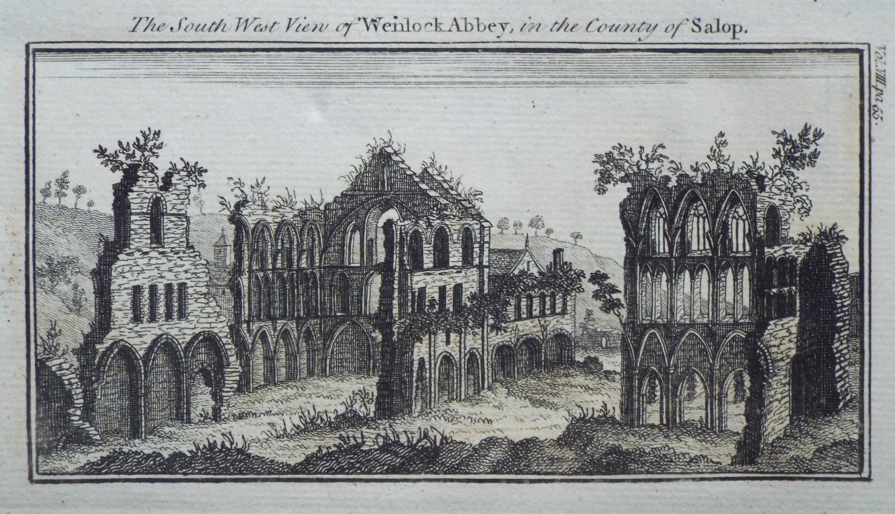 Print - The South West View of Wenlock Abbey, in the County of Salop.