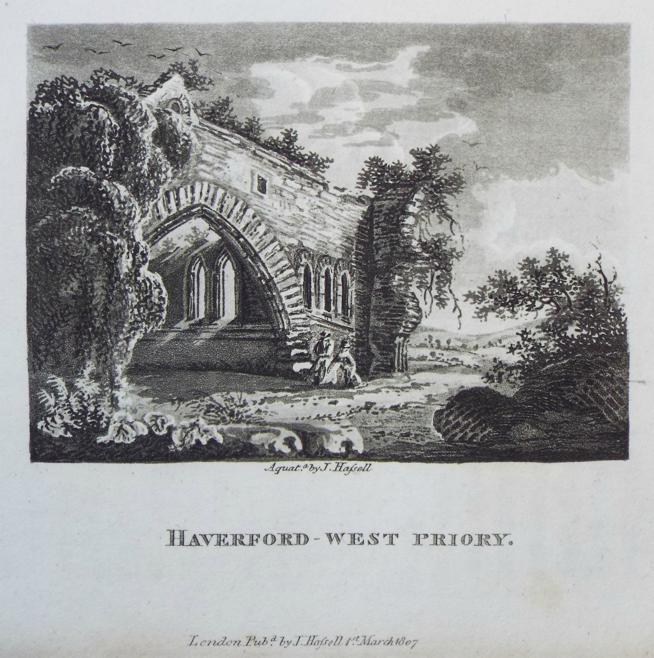 Aquatint - Haverford-west Priory. - Hassell