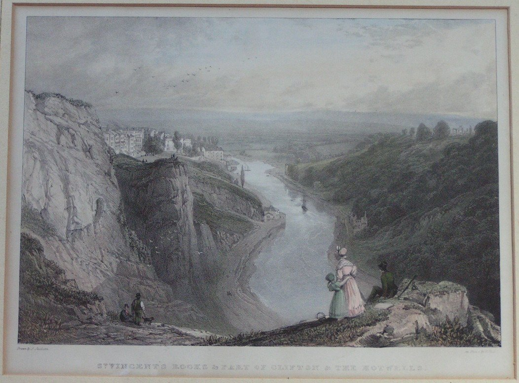 Lithograph - St.Vincent's Rocks & Part of Clifton & The Hotwells - Childs