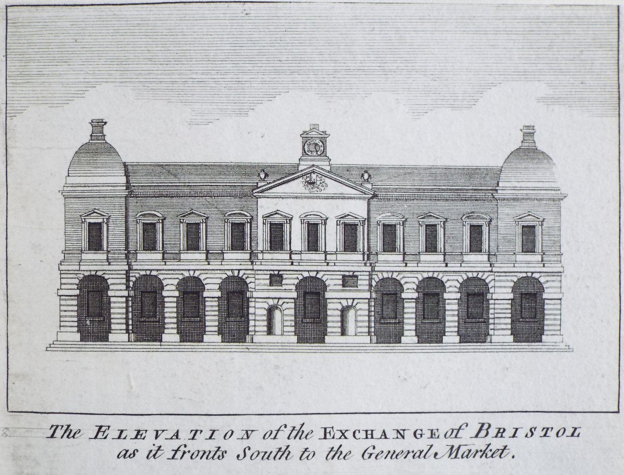 Print - The Elevation of the Exchange of Bristol as it fronts South to the General Market.
