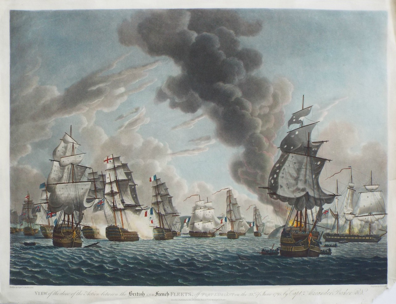 Aquatint - View of the close of the Action between the British and French Fleets, off Port l'Orient on the 23rd. of June 1795, by Captn. Alexander Becher R. N. - Dodd