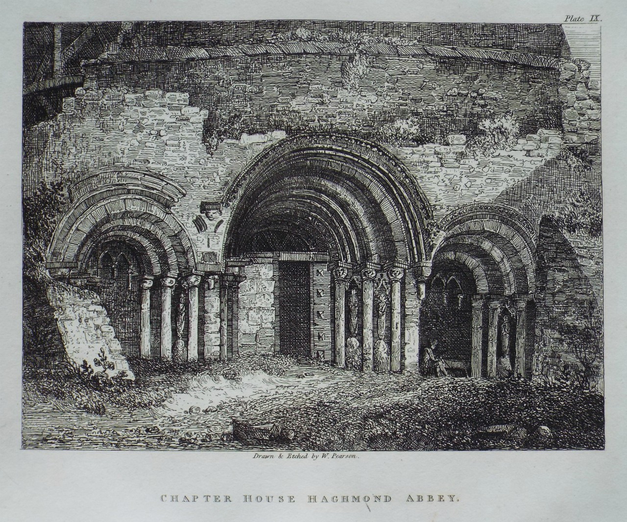 Etching - Chapter House Haghmond Abbey. - Pearson
