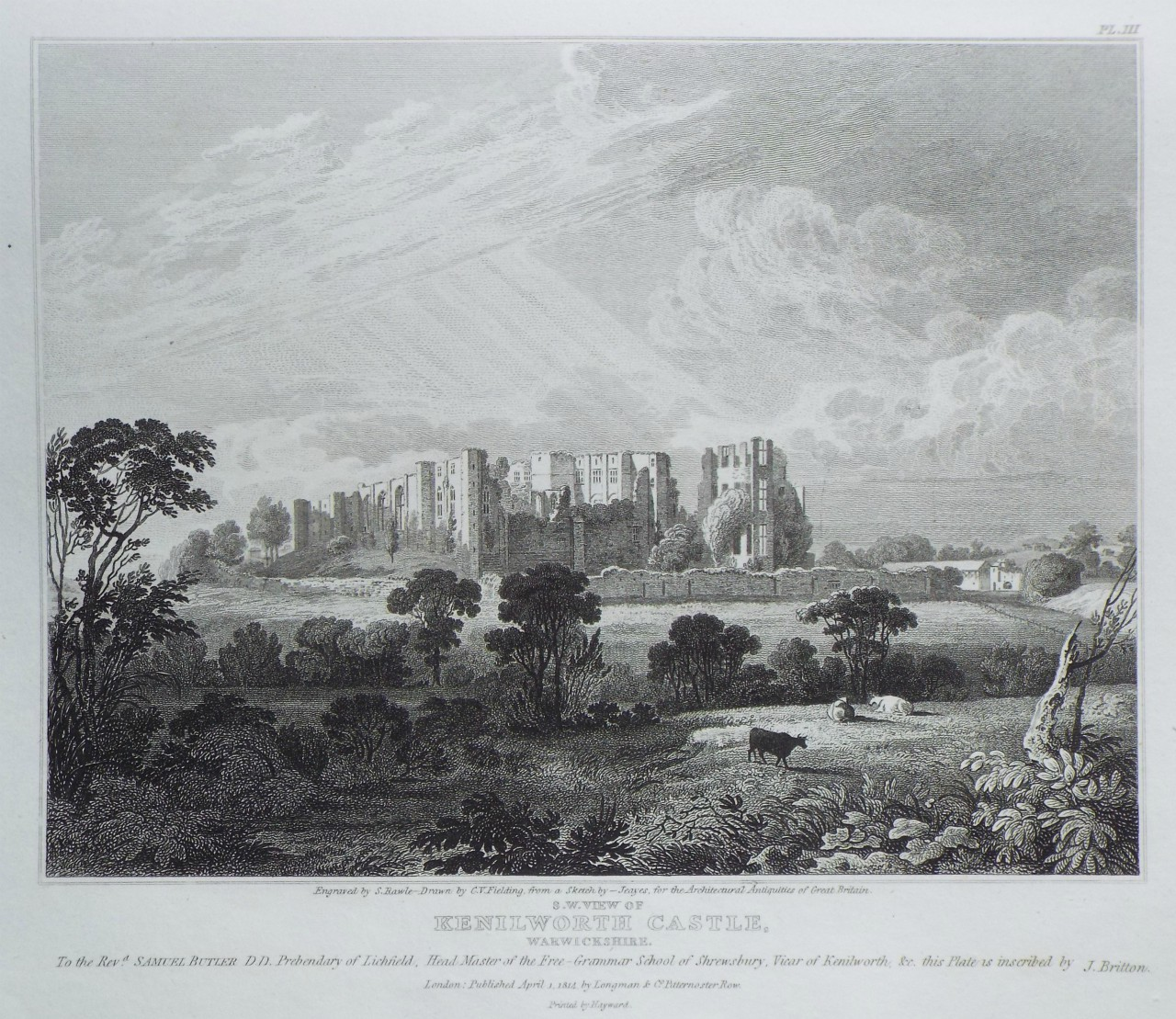 Print - S. W. View of Kenilworth Castle, Warwickshire. - Rawle