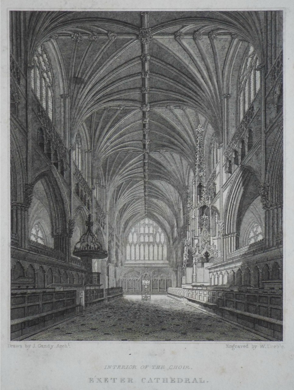 Print - Interior of the Choir, Exeter Cathedral. - Deeble