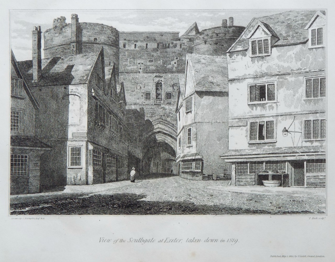 Print - View of the Southgate at Exeter, taken down in 1819. - Nash