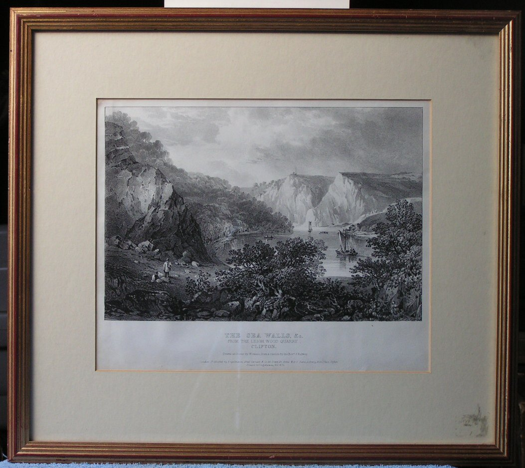 Lithograph - The Sea Walls &c From the Leigh Wood Quarry, Clifton - Gauci