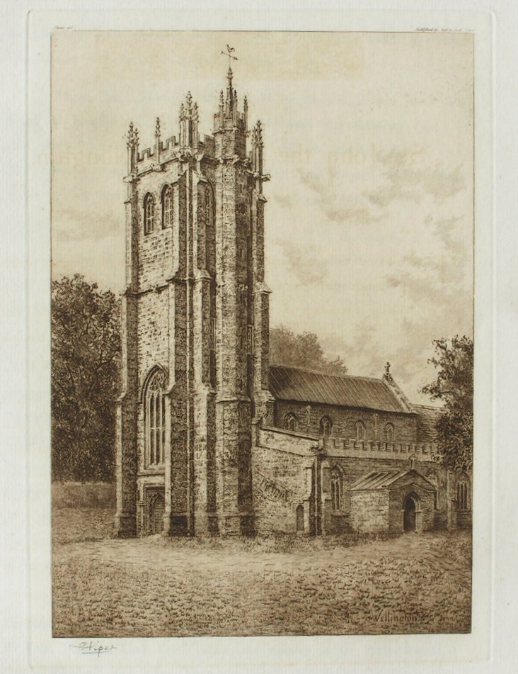 Etching - St. John the Baptist, Wellington - Piper