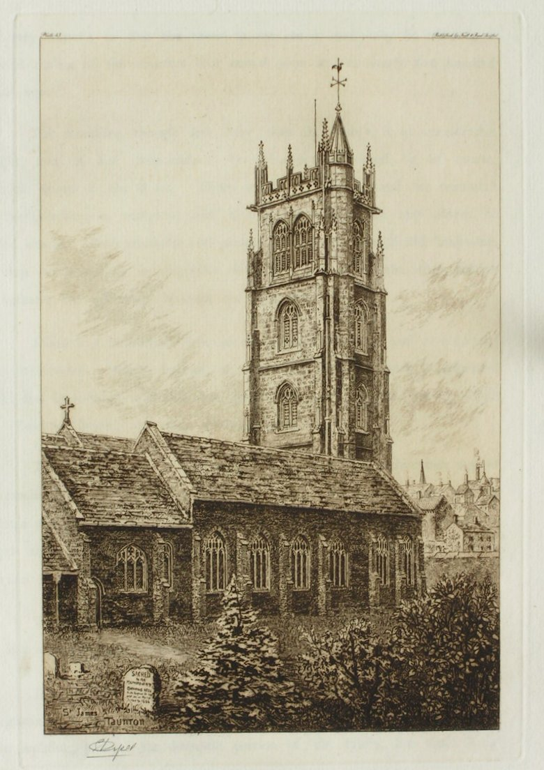 Etching - St. James's, Taunton - Piper