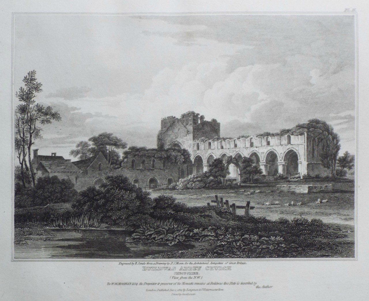 Print - Buildwas Abbey-Church: Shropshire. (View from the N. W.) - Sands