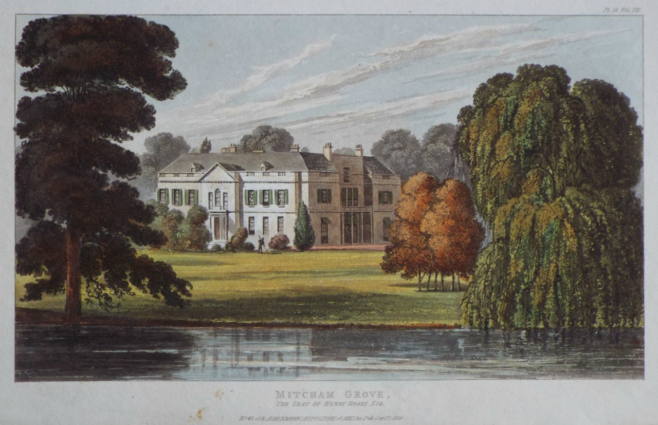 Aquatint - Mitcham Grove, the Seat of Henry Hoare Esq.