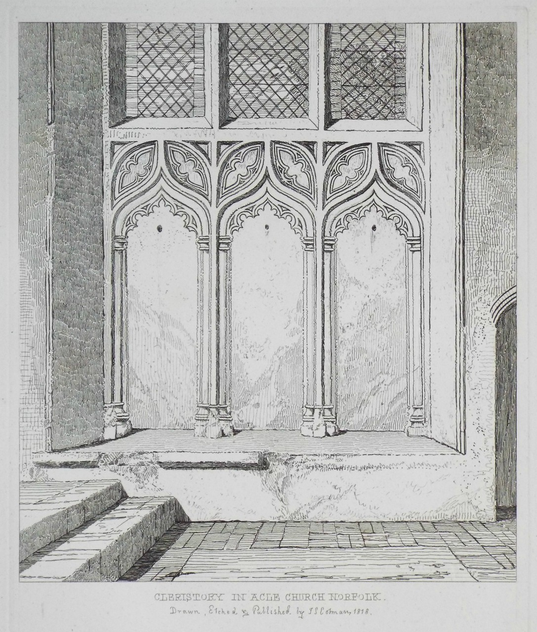 Etching - Cleristory in Acle Church Norfolk - Cotman