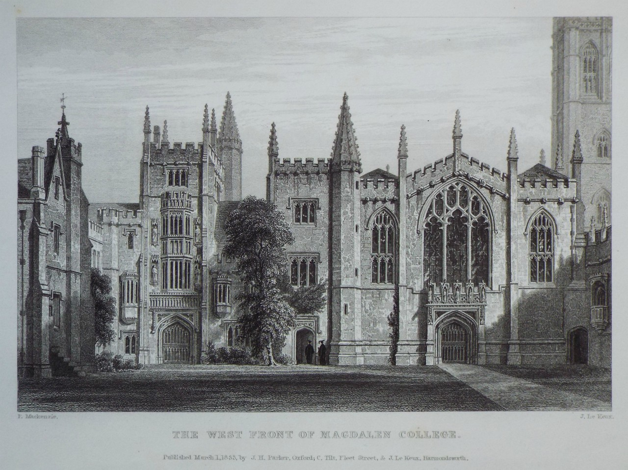 Print - The West Front of Magdalen College. - Le