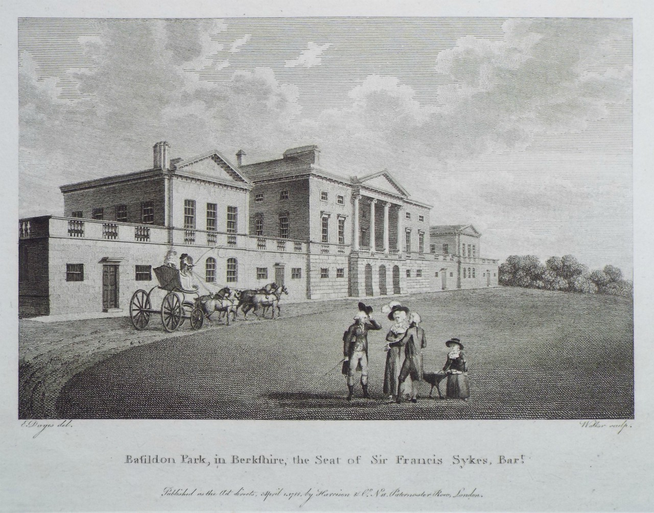 Print - Basildon Park, in Berkshire, the Seat of Sir Francis Sykes, Bart. -