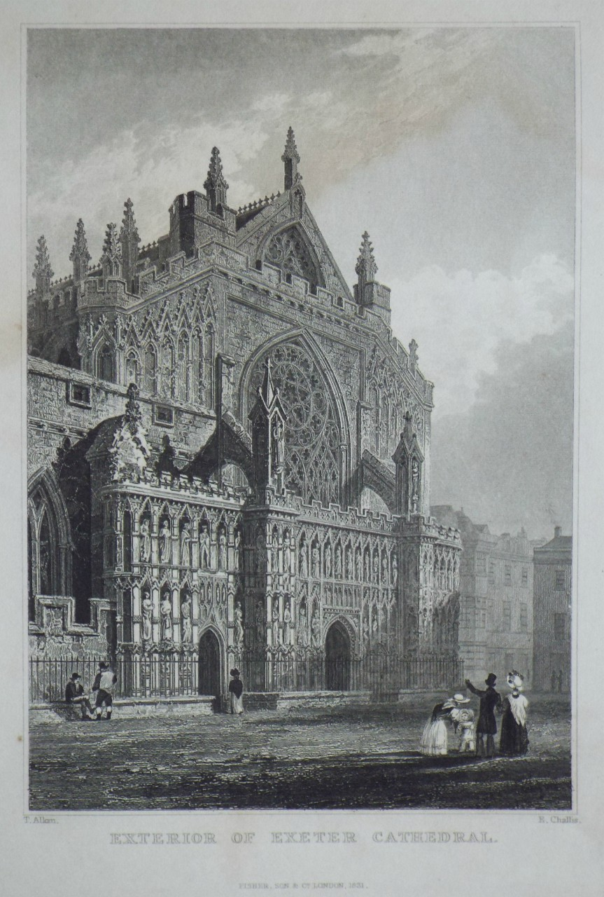 Print - Exterior of Exeter Cathedral. - Challis