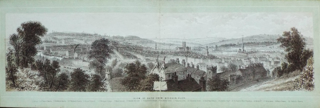 Chromo-lithograph - View of Bath from Beechen Cliff. - T