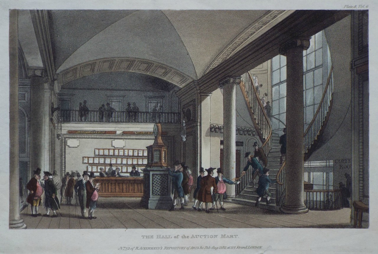 Aquatint - The Hall of the Auction Mart.