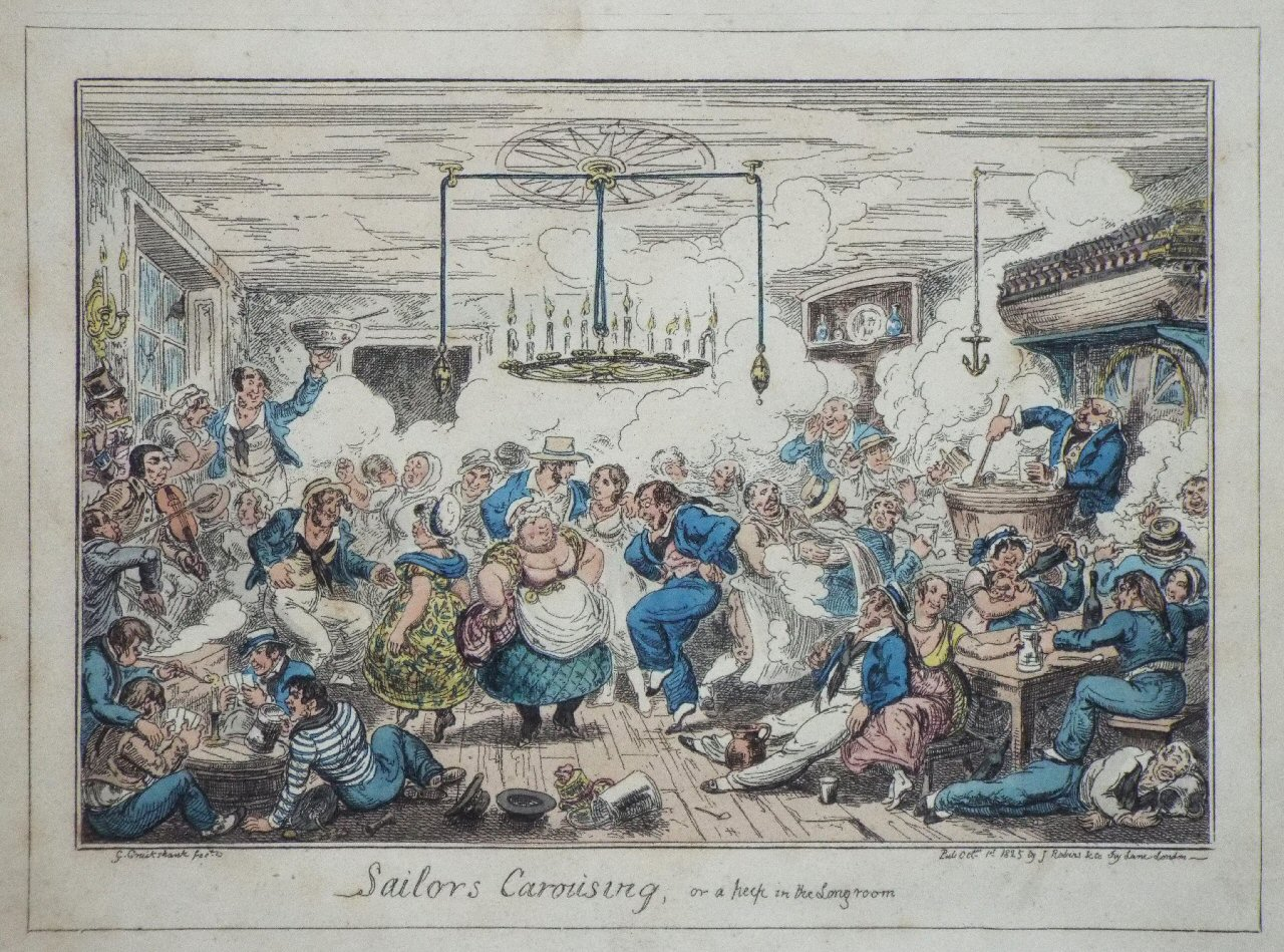 Etching - Sailors Carousing, or a peep in the Long room - Cruikshank