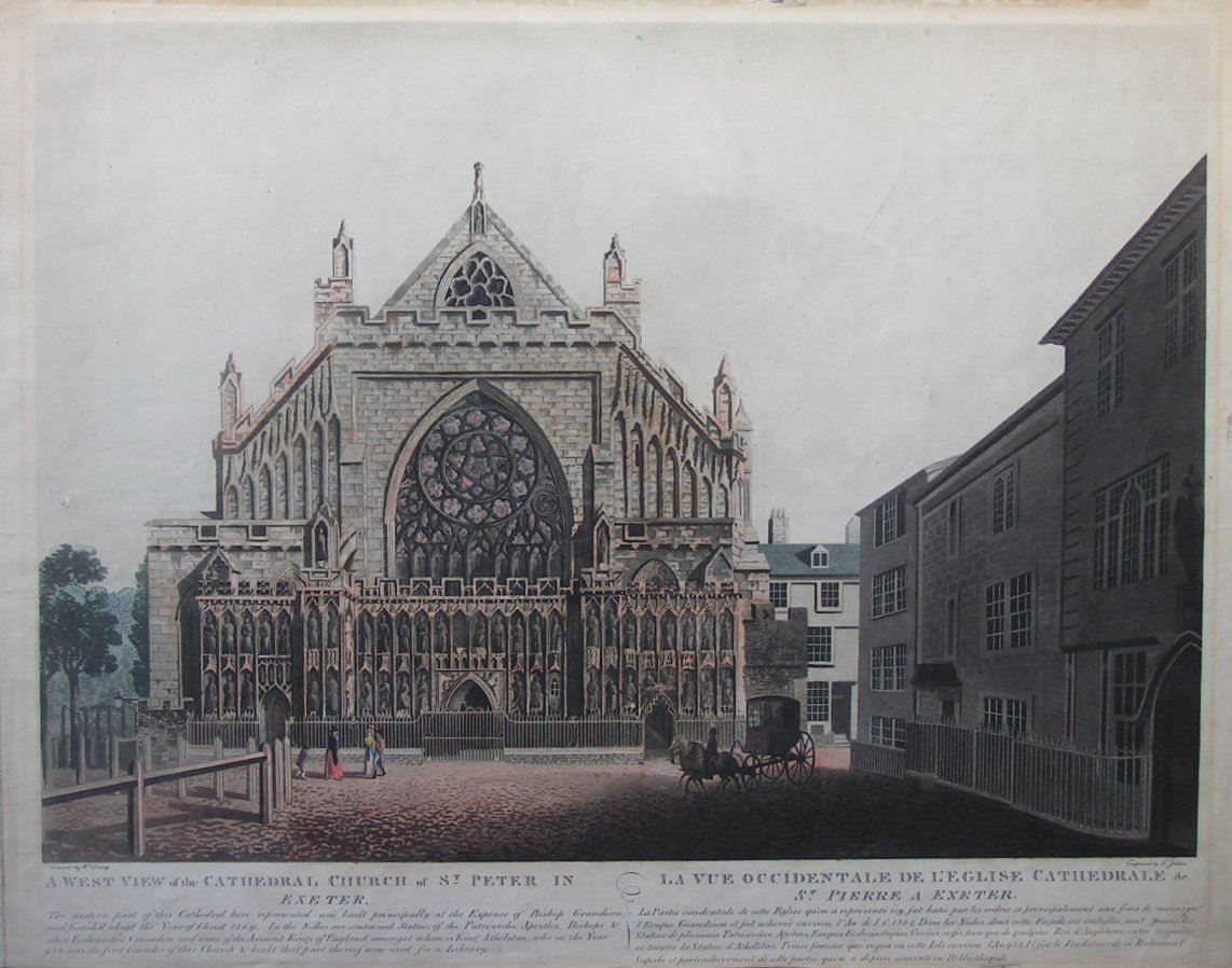 Aquatint - A West View of the Cathedral Church of St Peter in Exeter - Jukes