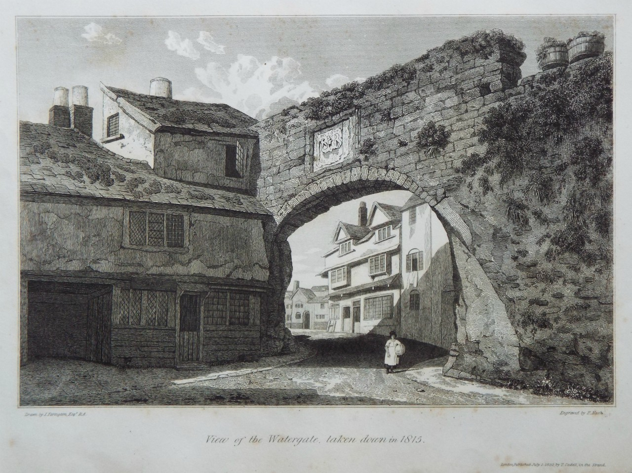 Print - View of the Watergate, taken down in 1815. - Nash