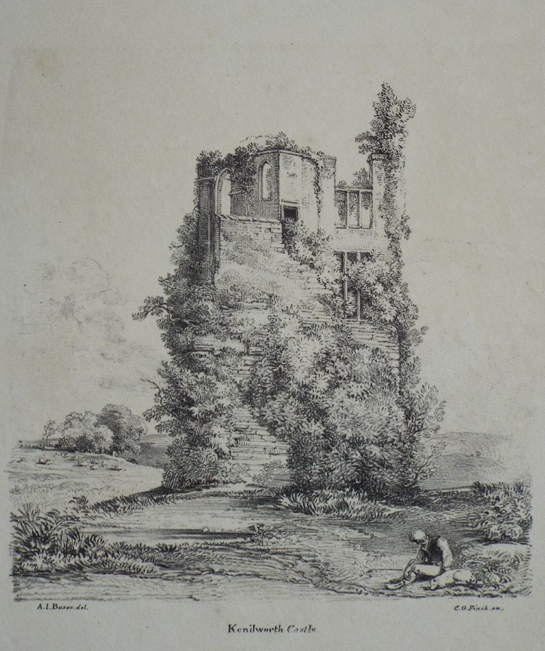 Lithograph - Kenilworth Castle. - Finch