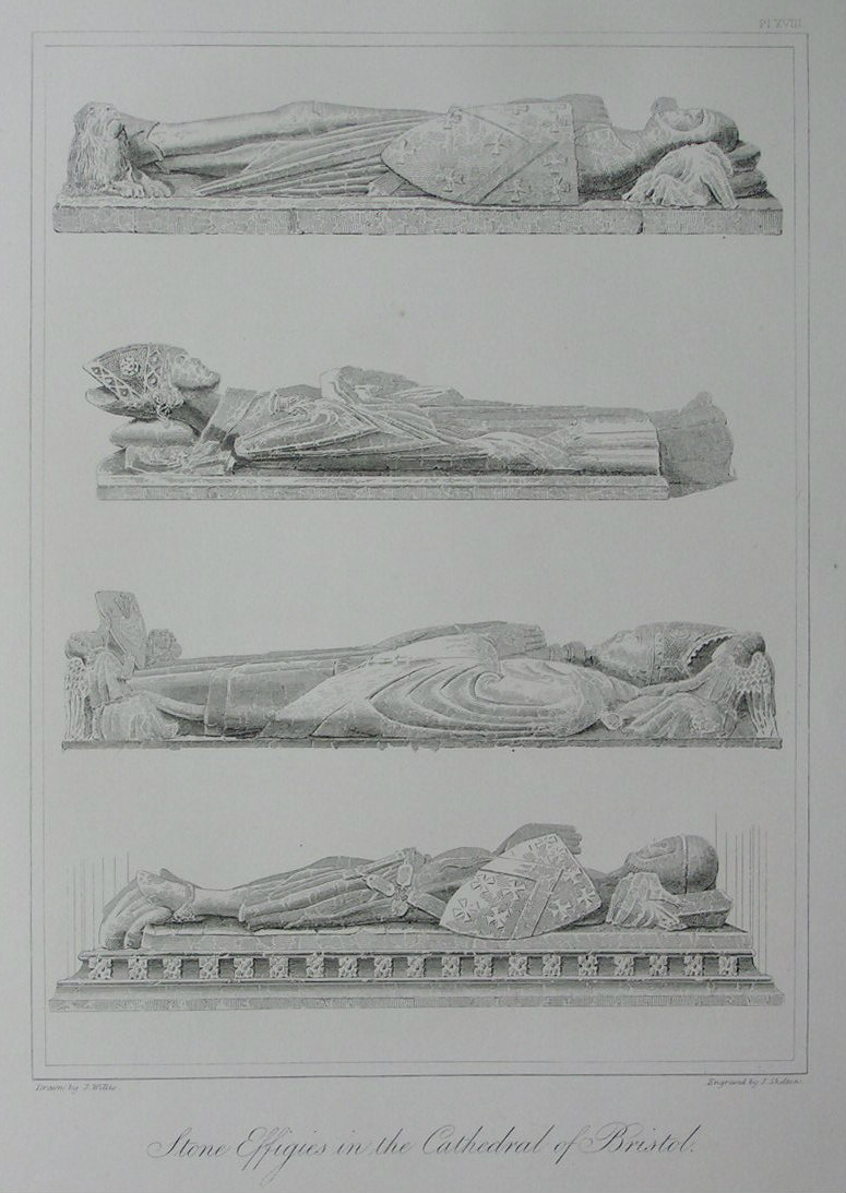Etching - Stone Effigies in the Cathedral of Bristol. - Skelton