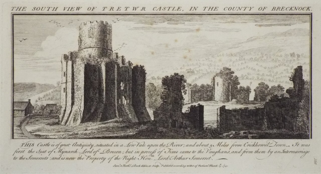 Print - The South View of Tretwr Castle, in the County of Brecknock. - Buck