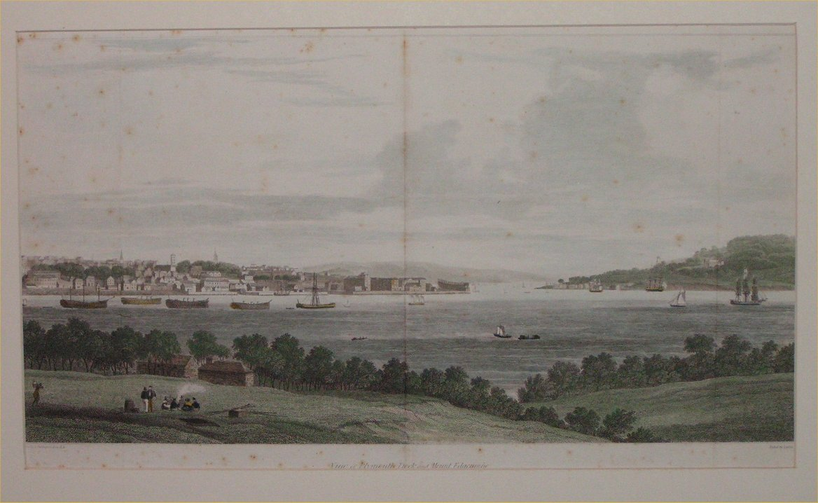 Print - View of Plymouth Dock and Mount Edgecumbe - Byrne