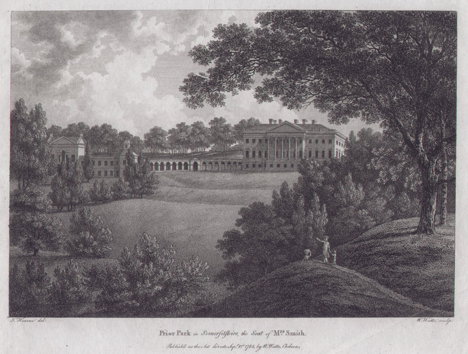 Print - Prior Park in Somersetshire, the Seat of Mrs.Smith - Watts