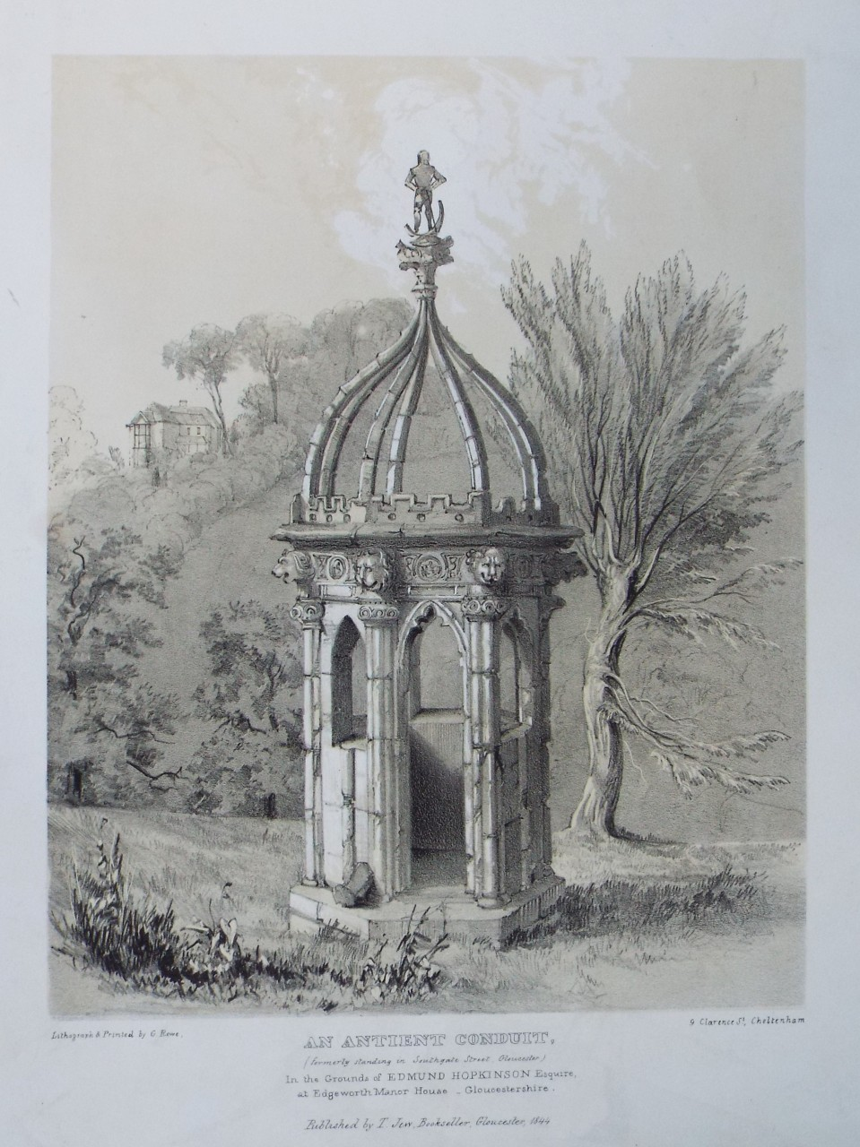 Lithograph - An Antient Conduit, (formerly standing in Southgate Street Gloucester) In the Grounds of Edmund Hopkinson Esquire, at Edgeworth Manor House Gloucestershire. - Rowe
