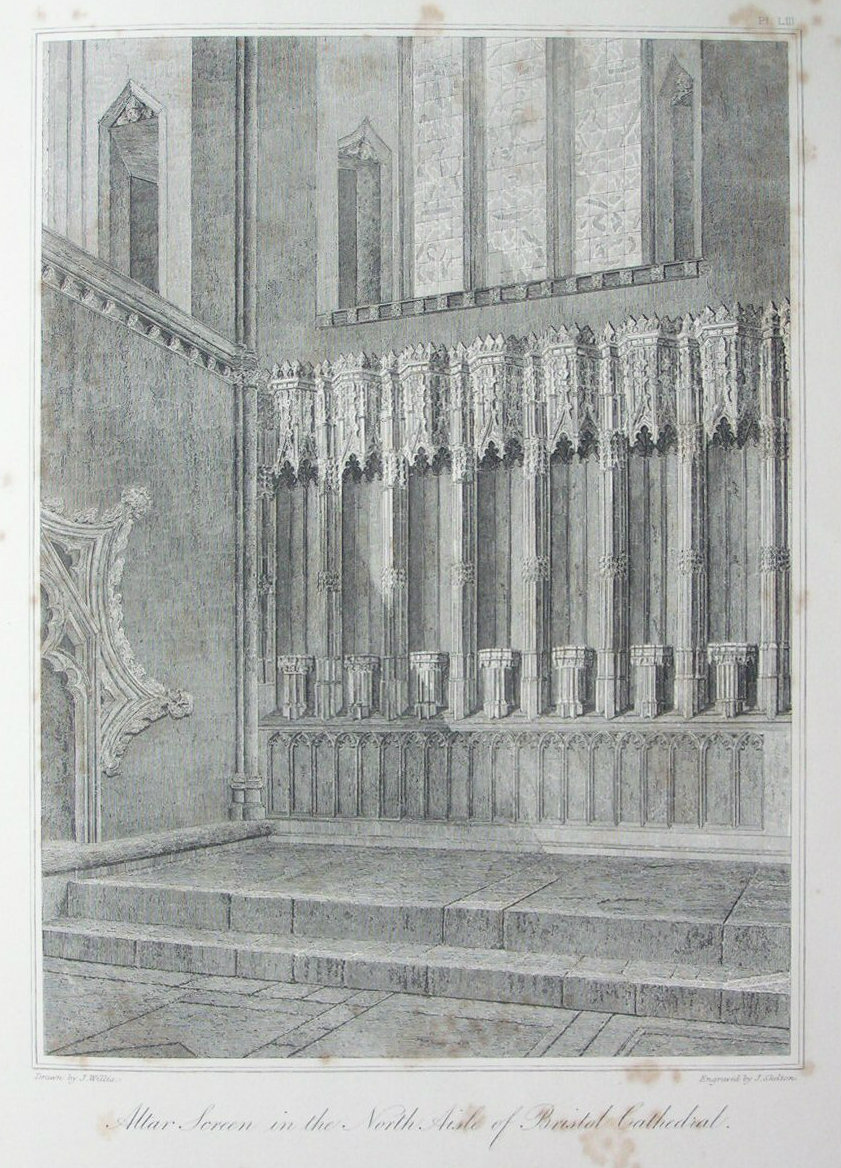 Etching - Altar Screen in the Nort Aisle of Bristol Cathedral. - Skelton