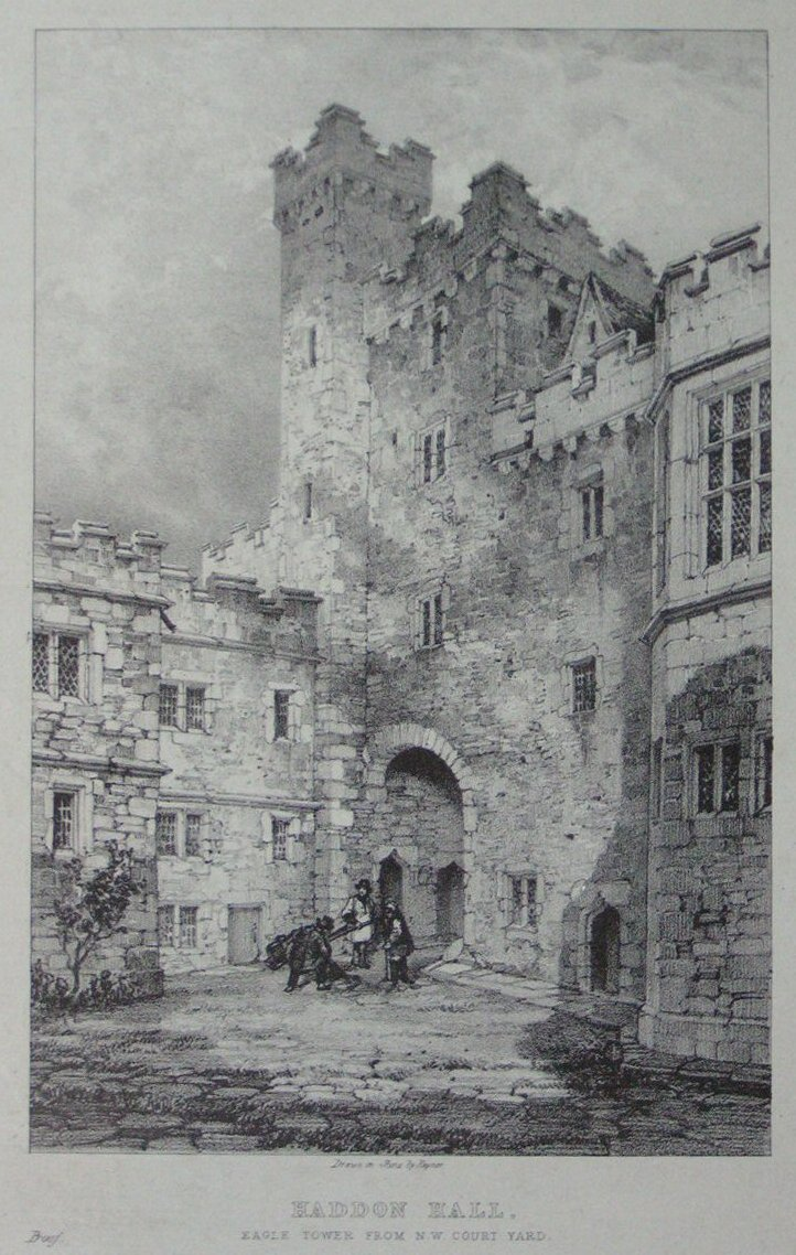 Lithograph - Haddon Hall Eagle Tower from N W Court Yard -