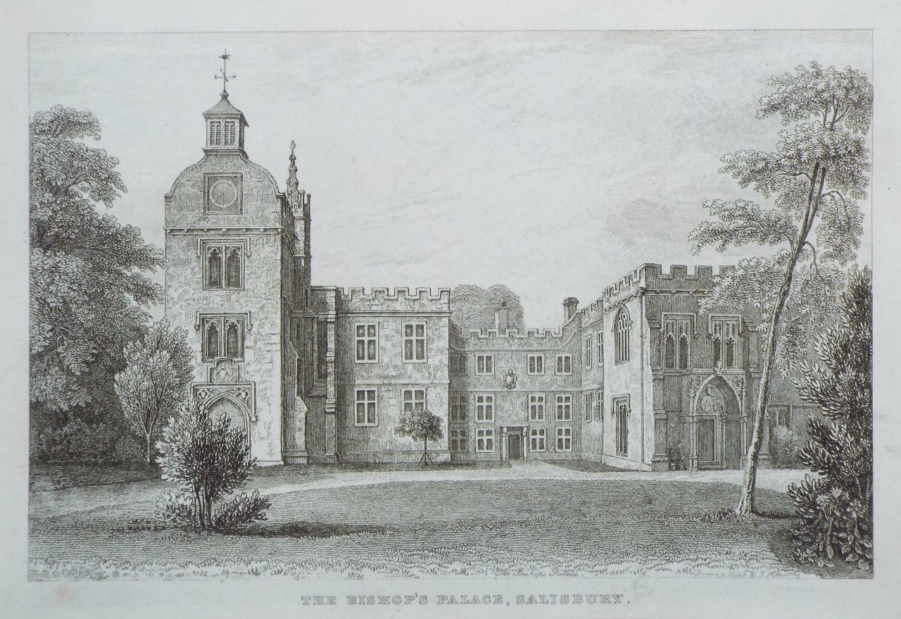 Etching - The Bishop's Palace, Salisbury.