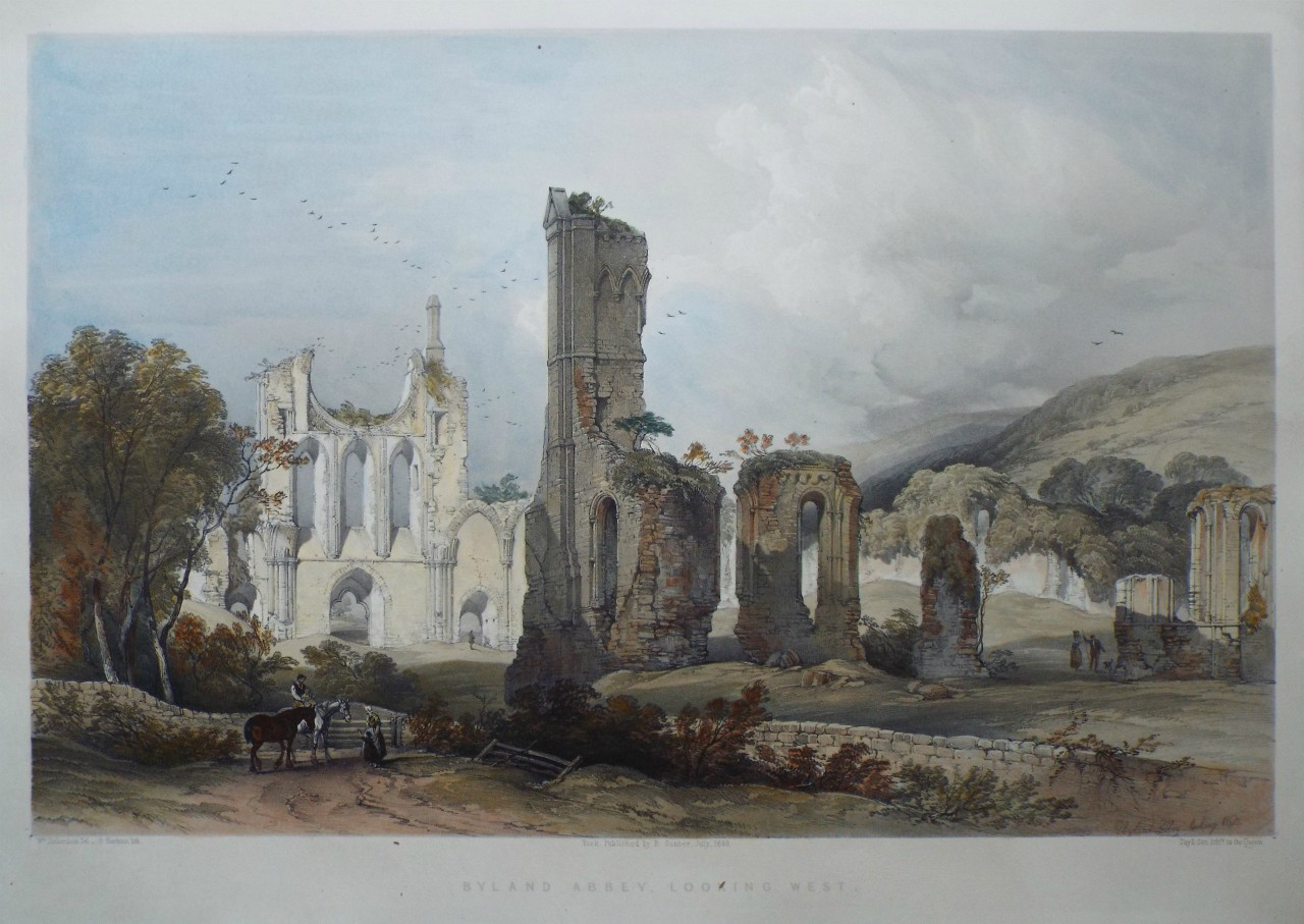 Lithograph - Byland Abbey looking West - Hawkins