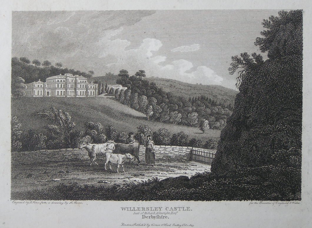 Print - Willersley Castle Seat of Richard Arkwright Esqr, Derbyshire. - Storer