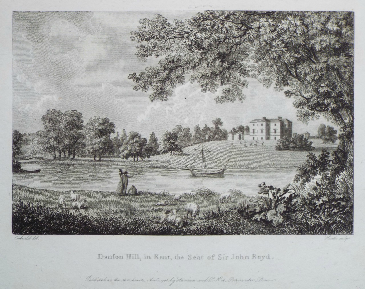 Print - Danson Hill, in Kent, the Seat of Sir John Boyd. -