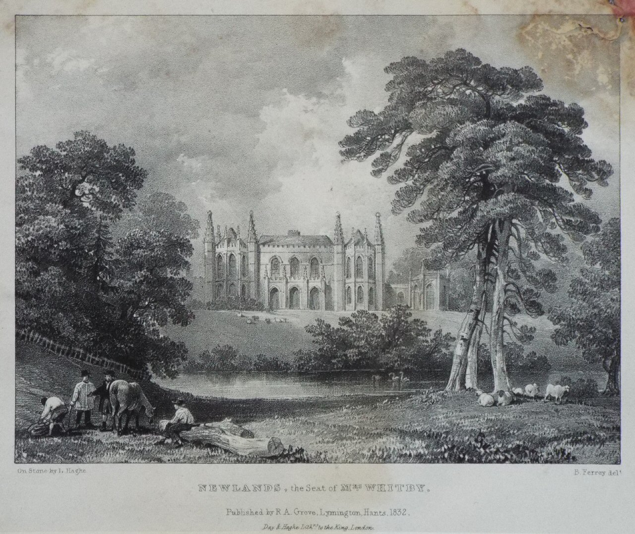 Lithograph - Newlands, The Seat of Mrs Whitby. - Haghe