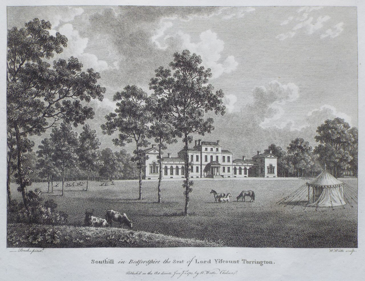 Print - Southill in Bedfordshire, the Seat of Lord Viscount Torrington. - Watts
