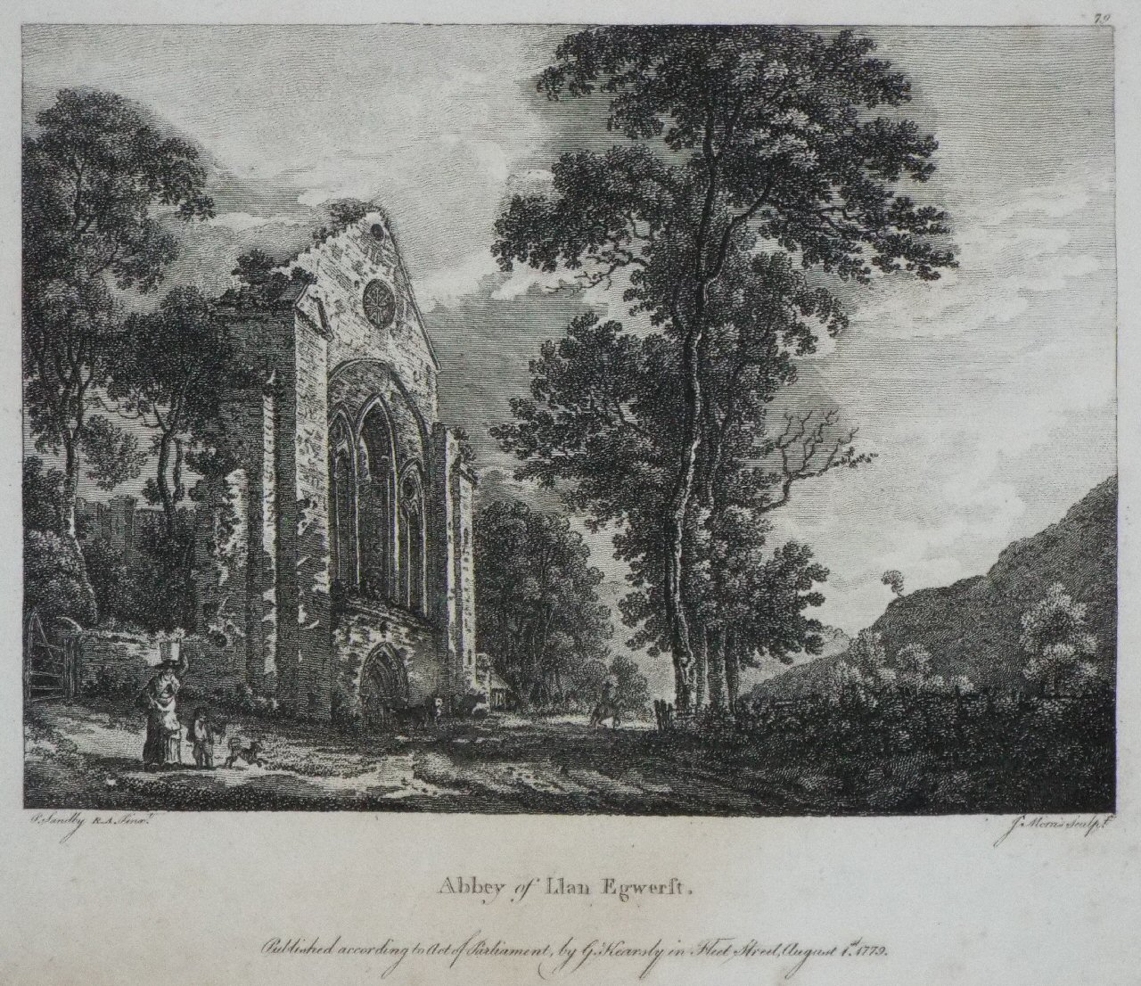 Print - Abbey of Llan Egwerst. - Morris