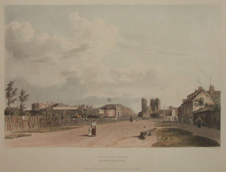 Aquatint - Prison and Castle from the Huntingdon Road - Stadler