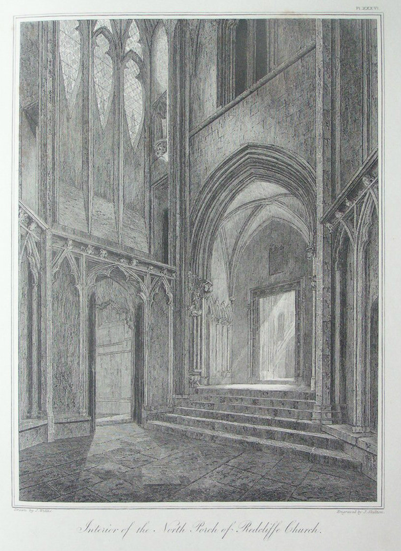 Etching - Interior of the Nort Porch of Redcliffe Church. - Skelton