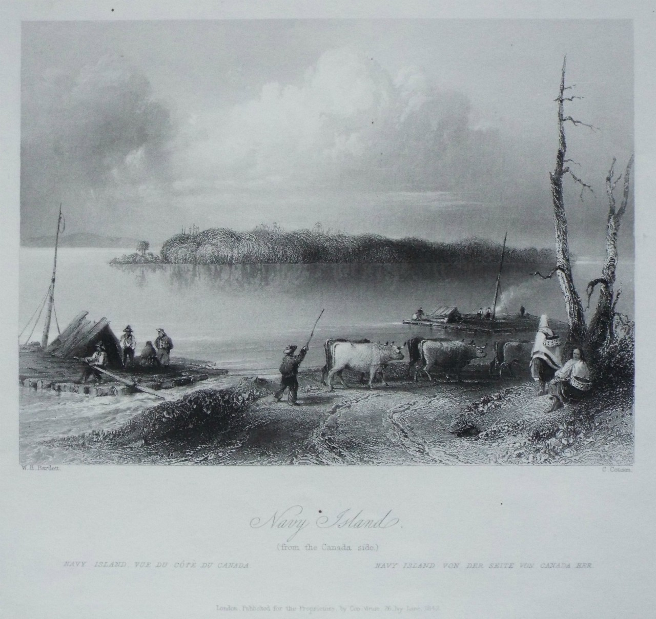 Print - Navy Island. (from the Canada side.) - Cousen