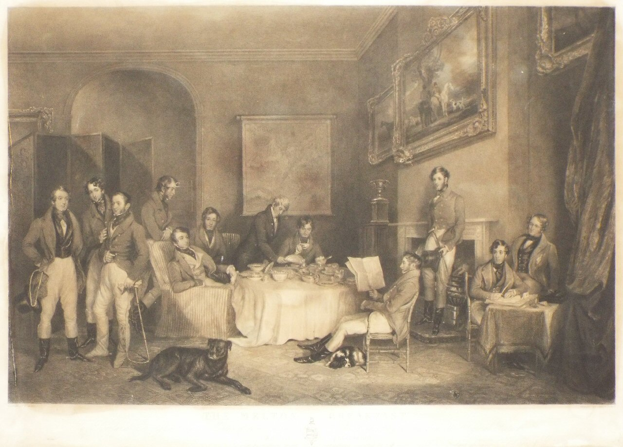 Mezzotint - The Melton Breakfast.To Rowland Errington Esq.re Master of the Quorn Hounds, this Engraving from the Original Picture in his possession, Is with permission most respectfully dedicated by his much obliged and Obedient Servants, Hodgson & Graves. - Lewis