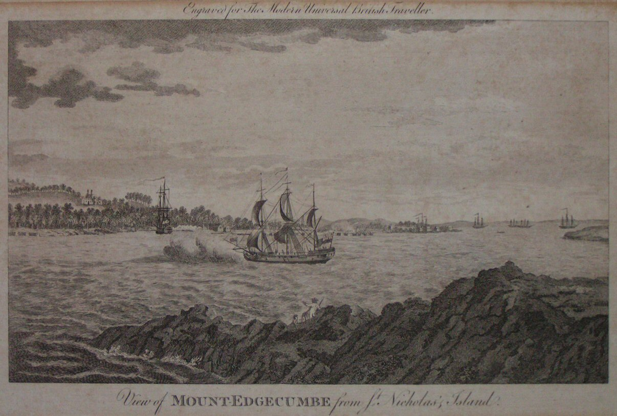 Print - View of Mount-Edgecumbe from St. Nicholas's Island.