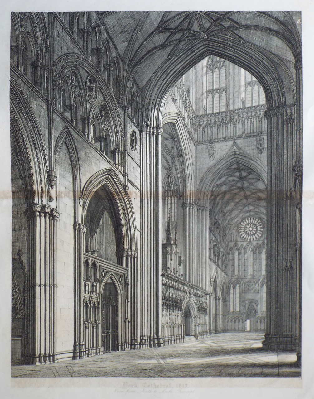 Print - York Cathedral, 1817. View from North to South Transept. - Coney