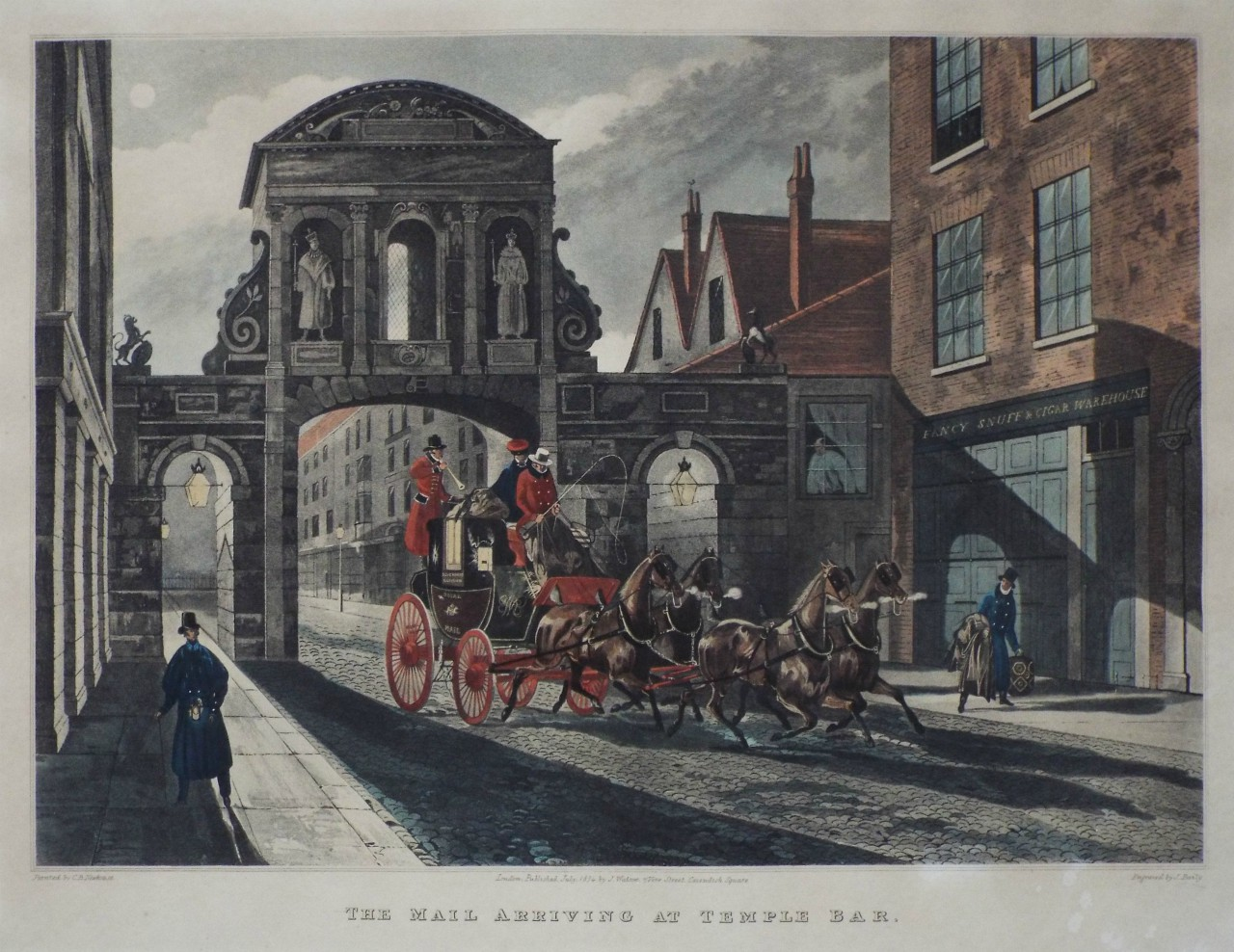 Aquatint - The Mail Arriving at Temple Bar, - Baily